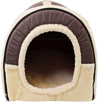 ANCOZ Nid d'animal de Compagnie et canapé-lit, Maison de Chat de Chien Pliable antidérapante et Hiver Doux Matelas Confortable 4 Style 3 Taille (S, Marron)