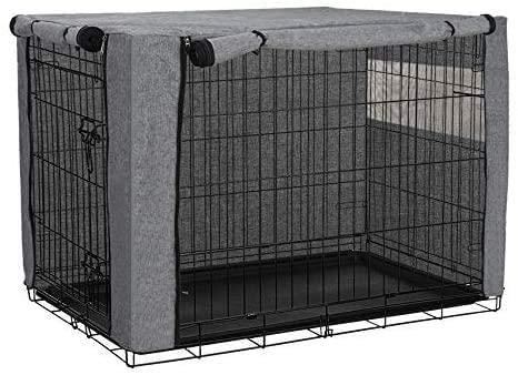 Housse de cage pour chien en polyester résistant et coupe-vent pour cage de chien - Pour intérieur et extérieur - Accessoires pour animaux domestiques- Housse uniquement (gris, 78,7 x 50,8 x 53,3 cm)