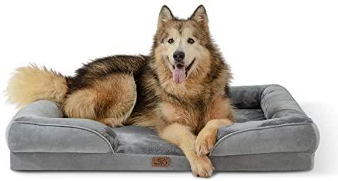 Bedsure Canapé Chien Grande Taille - Panier Chien Orthopedique et Dehoussable, Lit pour Chien Lavable, Anti-dérapant et Ultra Doux Gris - Taille 106x80x18 cm