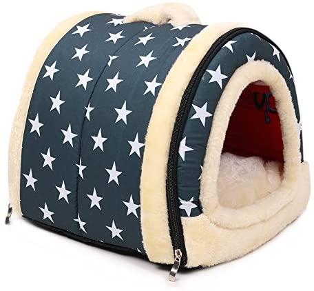 ANCOUS Nid d'animal de Compagnie et canapé-lit, Maison de Chat de Chien Pliable antidérapante et Hiver Doux Matelas Confortable 4 Style 3 Taille (M, Bleu)
