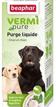 BEAPHAR – VERMIPURE – Solution liquide pour chiot et chien – Aux actifs naturels – Contient de l'ail, de la camomille, de l'armoise et du thym – Spécial hygiène digestive – Santé du chien – 50 ml