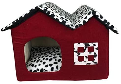 YUENA CARE Niche Maison Canapé pour Chat Chien Doux Chaude Nid Grotte Panier Coussin Amovible Corbeille Douille Lit pour Animal Domestique 55x40x42cm #4