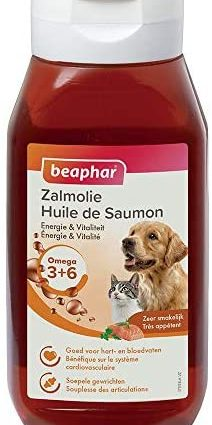 BEAPHAR – Huile de saumon pour chien et chat – Complément alimentaire – Omega 3 et 6 – Bénéfique sur le système cardio-vasculaire, le pelage et les articulations – Apport énergétique – 430 ml