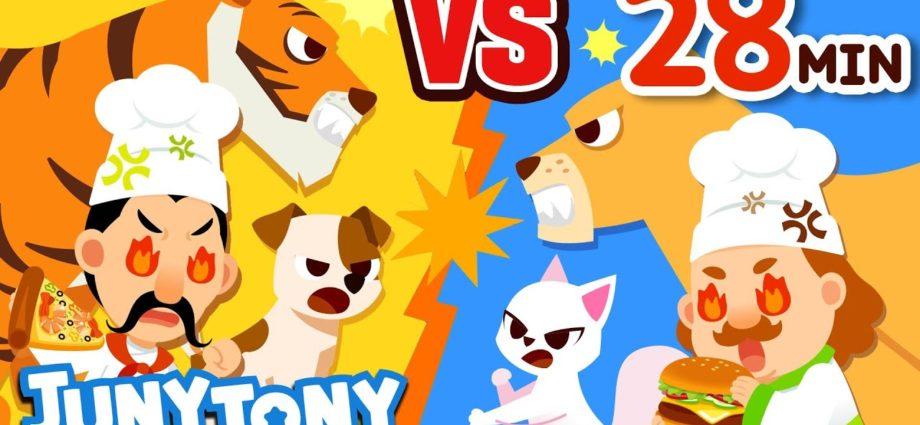 Chien contre chat, pizza contre hamburger et autres chansons VS | Compilation des meilleures chansons pour enfants | JunyTony