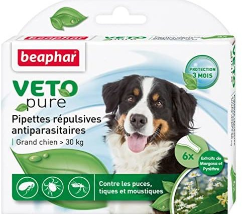 BEAPHAR – VETOPURE – Pipettes répulsives antiparasitaires pour grand chien (>30kg) – Aux extraits de Margosa & de Pyrèthre – Contre les puces, tiques et moustiques – Protection 3 mois – 3 pipettes