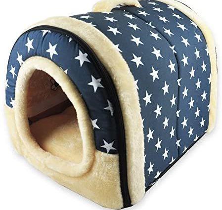 ANPPEX 2 en 1 Niches & Maison d'Animal Familier, Machine Lavable Antidérapant Pliable Doux Chaud Chien Chat Chiot Lapin Pet Nid Grotte Maison Lit avec Coussin Amovible