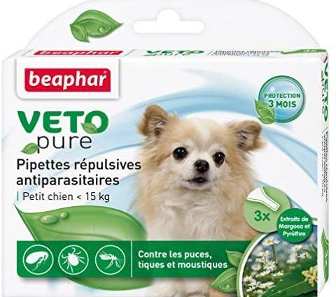 BEAPHAR – VETOPURE – Pipettes répulsives antiparasitaires pour petit chien