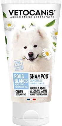 VETOCANIS Shampoing Pelage Blanc ou Clair pour Chien 300ml, 0% de Paraben 0% de Silicone
