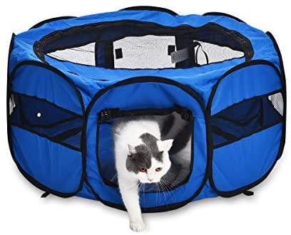 Amazon Basics Parc portatif souple pour animaux domestiques, 89 cm, Bleu