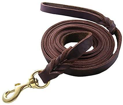 Rantow Laisse en cuir véritable pour chien - 260 cm x 1,2 cm - Corde pour chien avec poignée tressée classique et fermoir en métal - Collier et harnais disponibles séparément (cuivre)