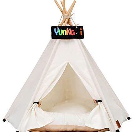 YunNasi Tente pour Chien ou Chat Maison pour Chien et Chat avec Coussin Amovible Niche à Chien Lit de Chien (40x40x50cm, Blanc Pur)
