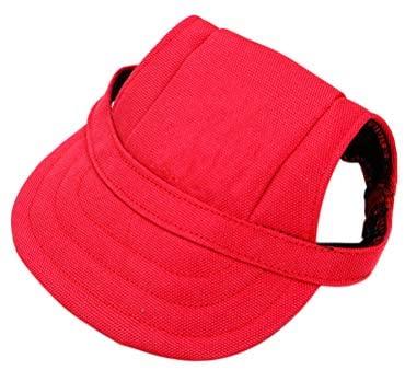 POPETPOP Chapeau pour Chien, Casquette de Baseball pour Chien réglable avec Trous d'oreille, Chapeau de Protection Contre Le Soleil pour Petit, Moyen et Grand Chien (Rouge, S)