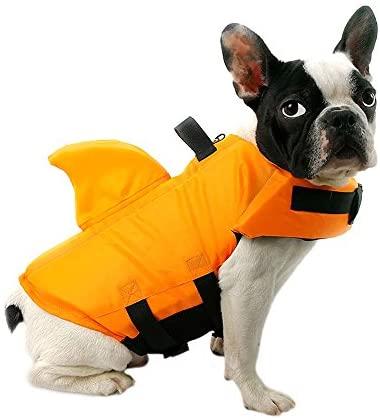FONLAM Gilet de Sauvetage pour Chien Gilet de Securité Chiot Animaux de Compagnie Réglable Maillot de Bain avec Aileron de Requin (M, Orange)