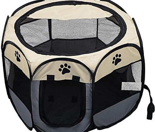 Enclos pliable pour chiots et petits animaux comme les chiens, chats, lapins, 91 x 91 x 58 cm