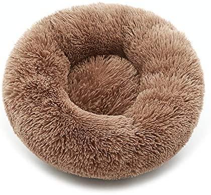 luciphia Rond Chien Lit pour Chat Chiot Animal Domestique Doux Peluche Canapé Coussin Puppy Sleeping Nest Kaki M-60cm
