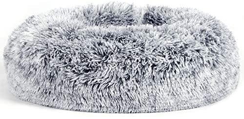 FEANDREA Panier pour Chien, Lit pour Chat, Tissu Peluche, 50 cm, Gris PGW037G01