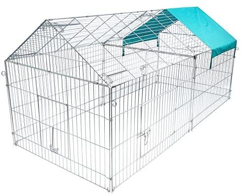 EUGAD Parc pour Petits Animaux Enclos extérieur pour lapains Parc extérieur en métal Cage extérieur avec Protection 220*103*103cm 0200HT